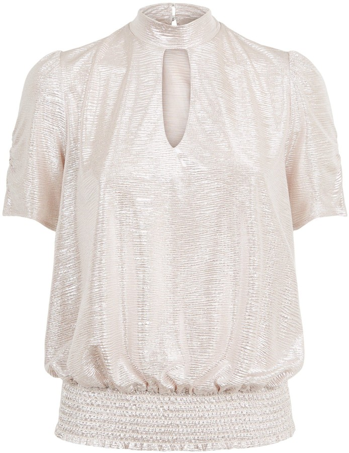 Thumbnail for your product : New Look Metallic Plisse High Neck Top