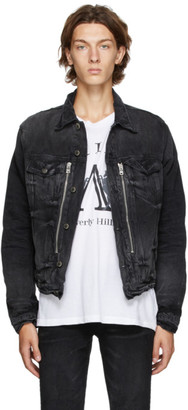 Amiri Black Denim Bandana MX2 Trucker Jacket