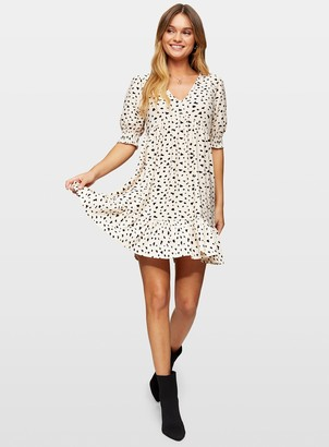Miss Selfridge Cream Animal Print Short Sleeve Smock Dress