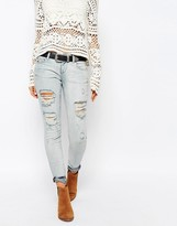 Only Coral Low Rise Bleached Skinny Jeans With Distressing