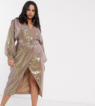 ASOS DESIGN Curve midi dress with blouson sleeve and belt in irridescent sheet sequin