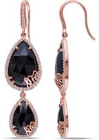 Julianna B 18 CT TW Black and Blue Onyx and Diamond Rose-Plated Silver Dangle Earrings