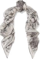 Alexander McQueen Printed Silk-chiffon Scarf - Ivory