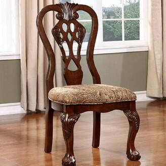 Fleur De Lis Living Swink Upholstered Queen Anne back Side Chair in Brown Cherry