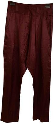 Antik Batik Burgundy Silk Trousers for Women