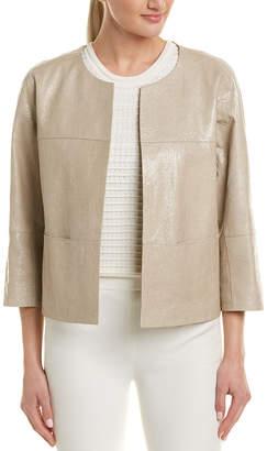 Lafayette 148 New York Crackle Leather Jacket