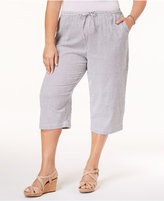 Karen Scott Plus Size Cotton Seersucker Capri Pants, Only at Macy's