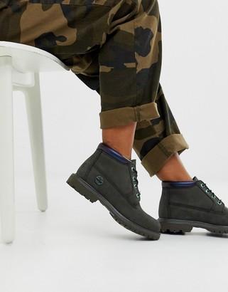 Timberland Kenniston Nellie dark green nubuck leather flat ankle boots with irridescent trim