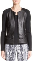 St. John Women's Leather Front Milano Knit Jacket
