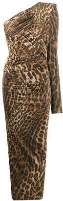 Alexandre Vauthier One-Shoulder Leopard Print Maxi Dress