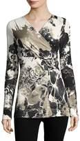 Roberto Cavalli Women's Floral Surplice T-Shirt