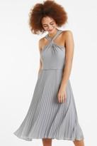 Oasis Pale Grey Twist-Neck Midi Dress