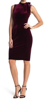 Calvin Klein Velvet Sleeveless Tie Neck Sheath Dress