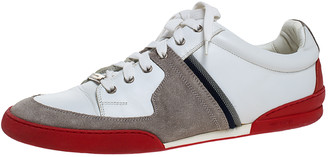 Christian Dior Grey Suede and White Leather Lace Up Low Top Sneakers Size 44