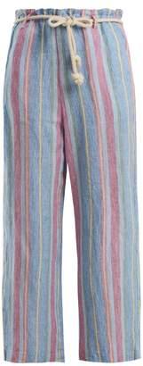 Frame Tie-waist Linen Trousers - Womens - Purple Multi