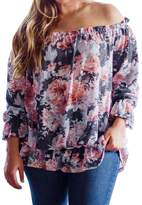 Tootu Home Clothing Tootu Autumn Women Plus Size Floral Print Off Shoulder Blouse Long Sleeve Shirt Tops (XXXL, )
