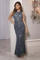 Sistaglam ConnaNavy All-Over Embellished Maxi Dress