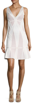 Herve Leger Pointelle Knit Embellished Flared Dress