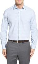 Luciano Barbera Men's Trim Fit Horizontal Stripe Sport Shirt