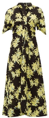 Proenza Schouler Splatter Floral-print Georgette Dress - Black Multi