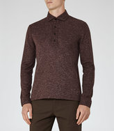 Reiss Reiss Goa - Flecked Polo Shirt In Purple