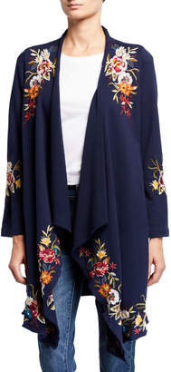 Johnny Was Isla Floral Embroidered Draped Cardigan