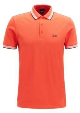 BOSS Cotton-pique polo shirt with logo undercollar