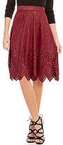 Soprano Faux-Suede Laser-Cut Skirt