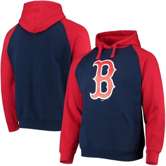 Stitches Men's Navy/Red Boston Red Sox Color Block Raglan Pullover Hoodie