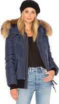 Mackage Romane Jacket with Asiatic Raccoon Fur Trim in Navy