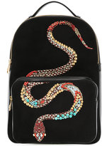 Roberto Cavalli Snake embellished backpack - women - Leather/Suede - One Size