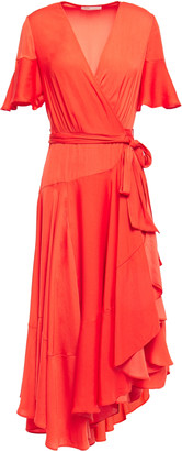 Maje Gathered Satin Midi Wrap Dress