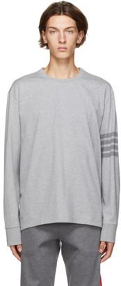 Thom Browne Grey 4-Bar Rugby Long Sleeve T-Shirt