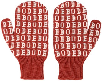 Bode knitted logo mittens