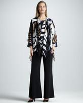 Caroline Rose Draped Safari-Print Jacket, Petite