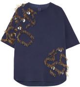 By Malene Birger Ellasa embellished stretch-crepe top