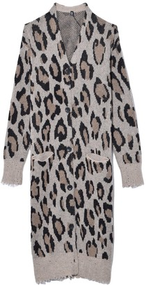 R 13 TS Long Cashmere Cardigan in Leopard