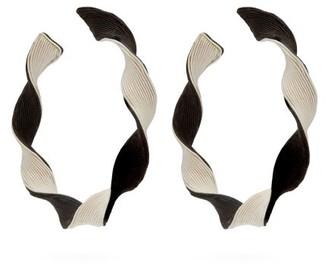 Rebecca De Ravenel Penelope Twisted-hoop Earrings - Womens - Black