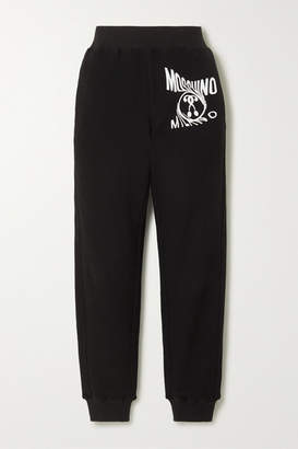 Moschino Printed Cotton-blend Terry Track Pants - Black