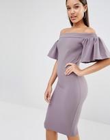 Oh My Love Midi Bardot Dress With Frill