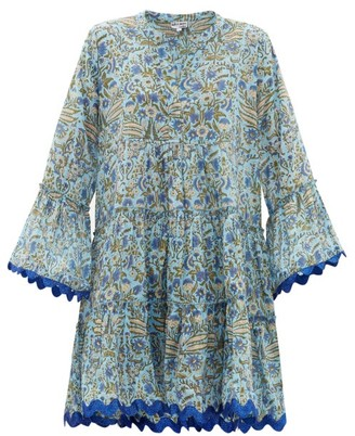 Juliet Dunn Floral-print Cotton Mini Dress - Womens - Blue Print