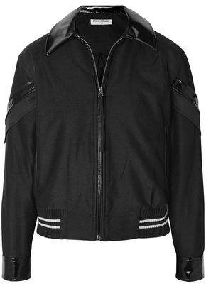 Opening Ceremony Patchwork Vinyl-trimmed Mesh And Crepe Bomber Jacket