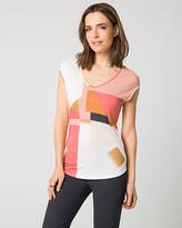 Le Château Patchwork Print Jersey V-Neck T-Shirt