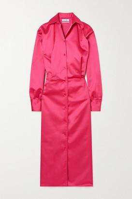 ATTICO Satin Midi Shirt Dress - Fuchsia