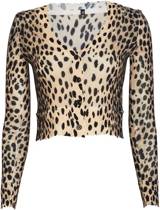 R 13 Cropped Cashmere Cheetah Cardigan