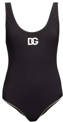 Dolce & Gabbana Scoop-back Logo-applique Swimsuit - Black