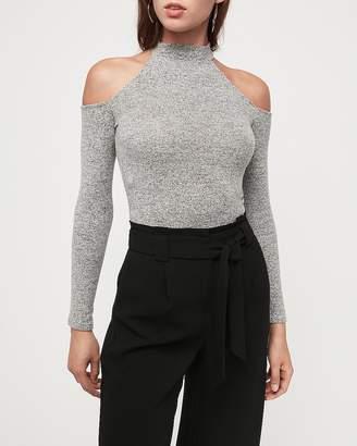 Express Soft Heathered Cold Shoulder Mock Neck Thong Bodysuit