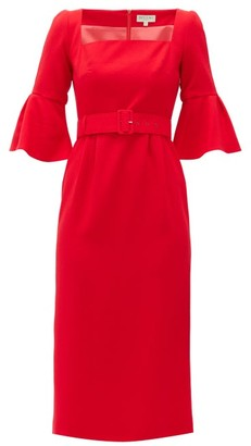 Beulah Camellia Belted Wool-crepe Dress - Red