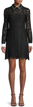 Valentino Lace Leather-Trim Shirtdress