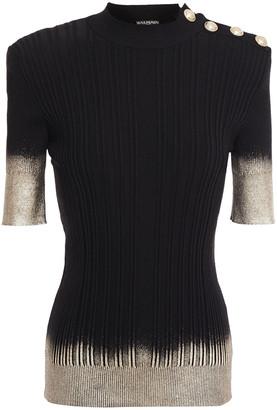 Balmain Metallic Coated Silk, Wool And Cashmere-blend Top